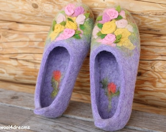 Felt wool slippers, size 9,5 US, lavender with silk roses, natural wool slippers with rubber soles, ready to ship