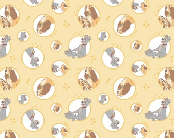 Disney Fabric Lady & the Tramp Family in Yellow Fabric From Camelot 100% Premium Cotton
