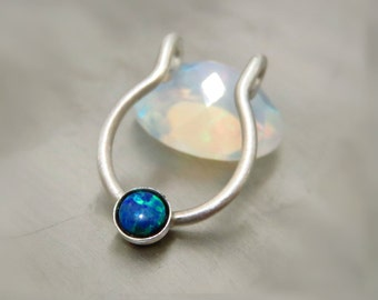 Natural Opal Fake Septum Ring, Fake Septum Piercing, Septum Jewelry - Fake Piercing