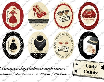"""Digital images for cabochons oval """"LADY CANDY"""" (32 images) to cut and stick on your creations"""