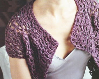 Instant Download - PDF- Pretty Shrug Crochet Pattern  (AD52)