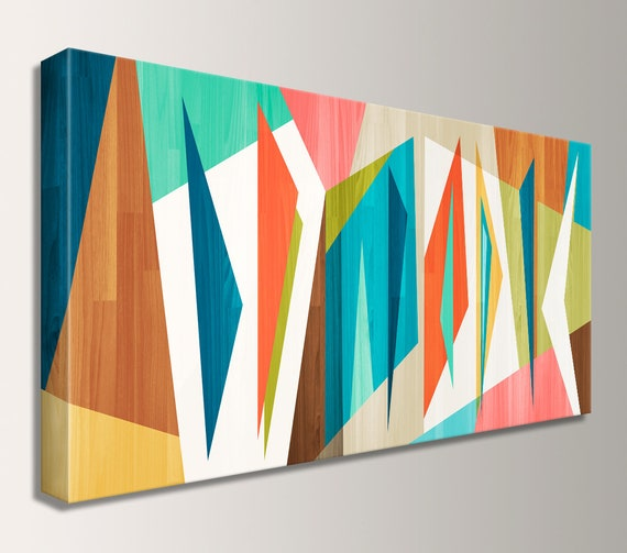 "Wall Art Mid Century Modern Art Panorama Canvas Print Retro Loft Art Large Wall Art Geometric Mid Century Painting Modern Art  ""Correlation"""