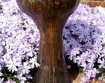 chalice, large goblet, wood textured chalice,  blue and brown goblet, rustic goblet CUSTOM ORDER