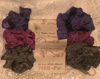 Scrunched Seam Binding ribbon, Crinkled Seam Binding Packaged Violette Gris ECS
