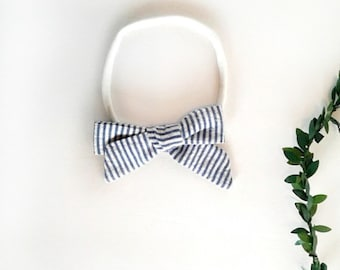 Blue pin striped girls hair bow clip girls vintage modern