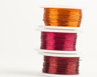 Spicy BOHO Craft Wire color combo, 28 gauge Extra long wire spools,  360 feet,  Orange Cherry and Burgundy , non tarnish copper wires