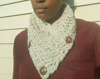 3-Button Convertible Scarf w/Coconut Shell Buttons