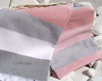 Turkishtowel-High Quality,Hand Woven,Cotton Bath,Beach,Pool,Spa,Yoga,Travel Towel or Sarong-White,Grey,Red Stripes