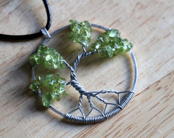 """Peridot Tree of Life pendant / necklace - 45mm / 1.75"""" - with leather necklace"""