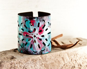 Turquoise Jewelry Cuff - Unique Gift Bracelets Painted Leather Accesssories - Boho Trends 2018