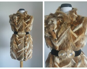 Vintage fox fur vest| fox fur vest |