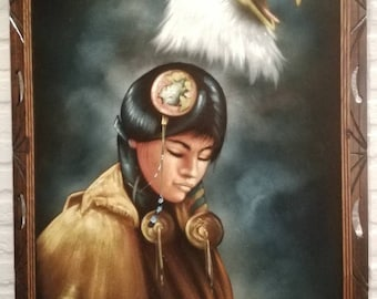 Velvet painting Native American woman with Eagle (Eagle) signed Ortiz 70s Retro Art Vintage wooden Frame