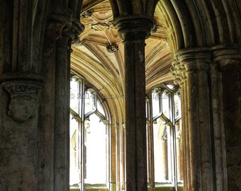 Abbey Window- England, Engalnd Photography, Travel Photography, Stone Building, Wall Art, Medieval Architecture
