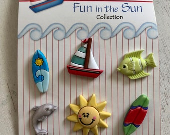 """Summer Buttons """"Surf's Up"""" Fun In The Sun Collection by Buttons Galore, #FN109 Carded set of 6, Shank Back Buttons, Boat, Sun, Surf, Fish"""