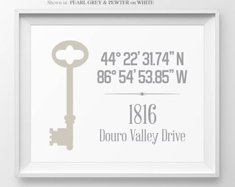 Our First Home Gift For Couple Skeleton Key New House Gift Personalized Gift Latitude Longitude House Warming Gift Address Sign Coordinates