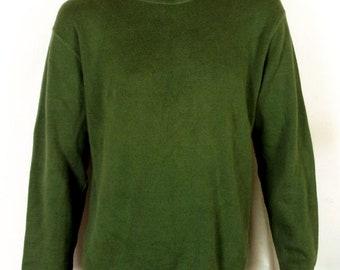 vtg 90s J.Crew green Ribbed Cotton Sweater Crew neck stretchy SZ L