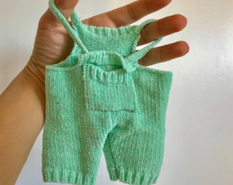Vintage light spring green doll romper, cute doll clothing, 6.5""