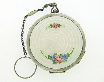 American Art Deco Sterling Silver Powder Rouge Dance Compact.  R&B Co. White Guilloche Enamel Pink  Roses Green Leaves. Finger Ring Chain.