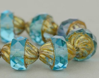 Czech Glass Beads, Spiral Central Cut, Aqua Blue Transparent with Antiqued Bronze Finish, 12x10mm, 10 beads