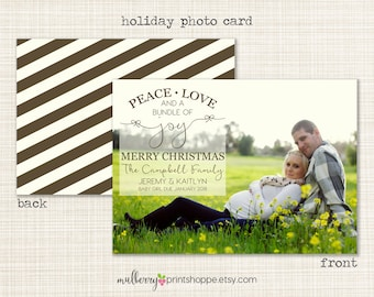 Holiday Photo Card - Pregnancy - Printable or Printed Holiday Cards/ Announcement- 2015 - COLORS CHANGEABLE