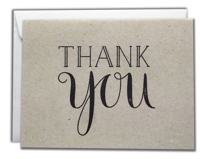 Thank You Note Cards   Brown Rustic Vintage Cards   Set of 10 Thanks Cards