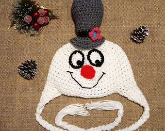 Friendly Snowman Hat- Snowman Hat- Crochet Snowman Hat- Holiday Hats- Christmas Hats
