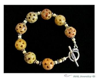 Soapstone Bracelet, Soapstone and Silver Bracelet, Tan Bracelet, Carved ,- B0808-01B