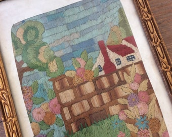 Gorgeous Antique Needlepoint / Vintage Needlework / Home Decor / Teal Decor / Wall decor / Shabby Chic / Farmhouse Decor / Housewarming Gift