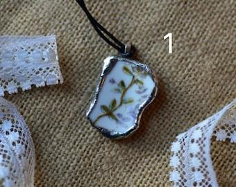 Lilac Broken China Necklace Set