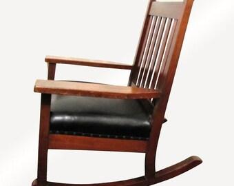 Antique Roycroft Large Rocking Armchair  w3279