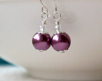 Plum Pearl Earrings, Burgundy Pearl Bridesmaid Earrings, Plum Purple Weddings, Crystal Glass bead Earrings, Plum Purple Bridesmaids Jewelry