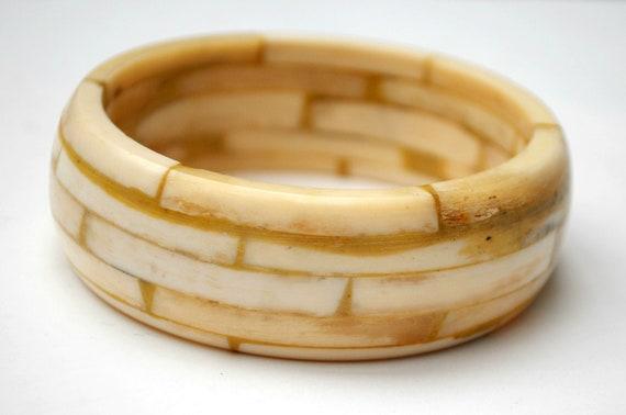Chunky Bangle - White black - Carved Mosaic cream  Bone - Boho Bracelet