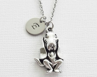 Hound Dog Necklace Hunting Dog Necklace Basset AKC Animal BFF Friend Birthday Gift Silver Jewelry Personalized Monogram Hand Stamped Letter