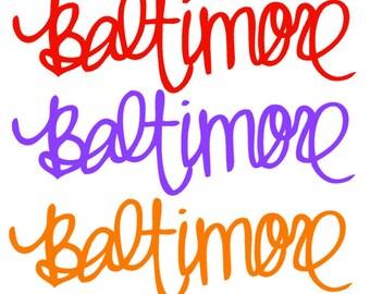Custom Baltimore decal, monograms, car decals, iPhone, iPad, iPod decals,