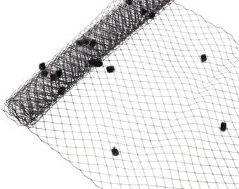 "1 Yard x 10"" Black Dot Russian Millinery Birdcage Veil Netting - Available in 19 Colors"