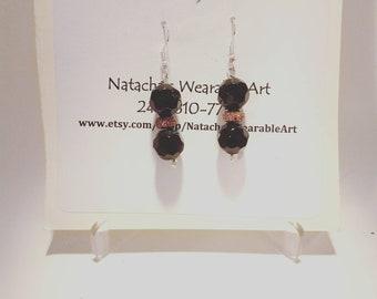 "Small Black and Copper Beaded Earrings with Stainless steel Ear Hook/ Earrings Hang 2"" Long"