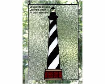 Cape Hatteras Lighthouse Stained Glass Panel, Nautical Decor, Beach Decor, Coastal Decor, Lighthouse Decor, Glass Art, Beach Theme, Gift