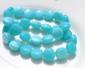 Light Turquoise Puff Coin Beads  15