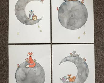 A picnic on the moon | Nursery print | Nursery art | woodland | art print | Nursery