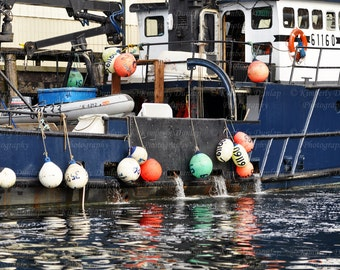 Fine Art Fishing Boat Photograph {Buoy Photo, Marina Photography, Large Ocean Picture, Over-sized Nautical Print, Sea Water, Alaskan Crab}