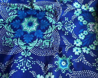 Jennifer Paganelli Pretty Please_Ann Flower Mural in Blue OOP VHTF Free Spirit Fabric Fat Quarter