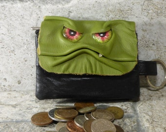 Zippered Coin Purse Gray Black Leather Change Purse Monster Face Pouch Key Ring 249