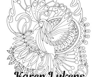 Happy Phoenix, 1 Adult Coloring Book Page, Digital Download