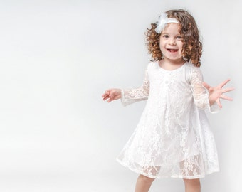 White long sleeve party dress for girls - Girl's white lace dress - long sleeve party dress for toddler girls