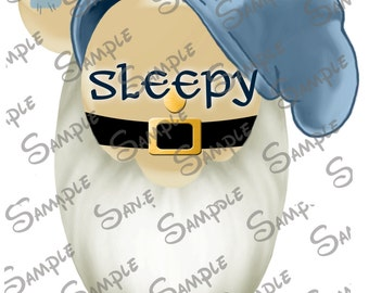 DIGITAL DIY printable Sleepy the Dwarf from Snow White Character Mickey head file can be Personalized for you!