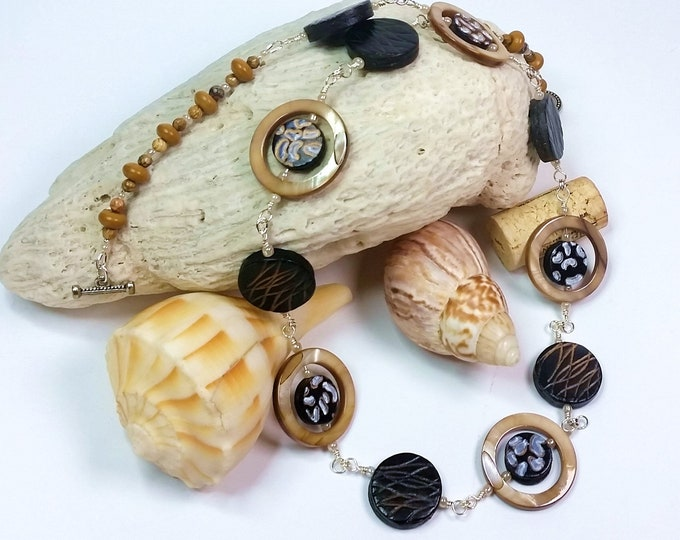 Links of Leather, Mother of Pearl Shell and Stone Beads Necklace Set - Cafe Latte Shell with Brown Leather Beads Jewelry