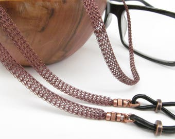 Antique copper Metal mesh eyeglass chain; Reading Glasses Holder Necklace; Glasses Leash; Glasses Chain; Glasses Lanyard; mesh glasses chain