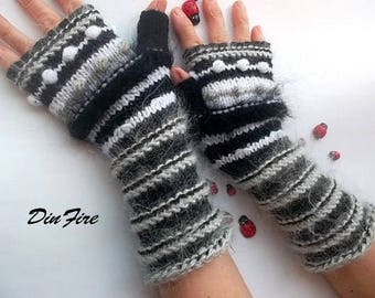 Women Size M 20% OFF Ready To Ship Fingerless Mittens Cabled Striped Gloves Warm Accessories Hand Knitted Wrist Warmers Winter Arm Black 876