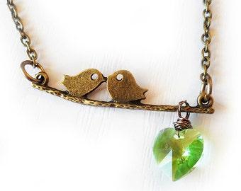 Love Birds Necklace, Birds on a branch Necklace, Kissing Birds Necklace, Green Swarovski Heart Bird Necklace, Gift for Girlfriend