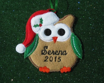 Personalized Owl Christmas Ornament or Gift Tag